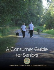 A Consumer Guide for Seniors (PDF) - Maryland Attorney General