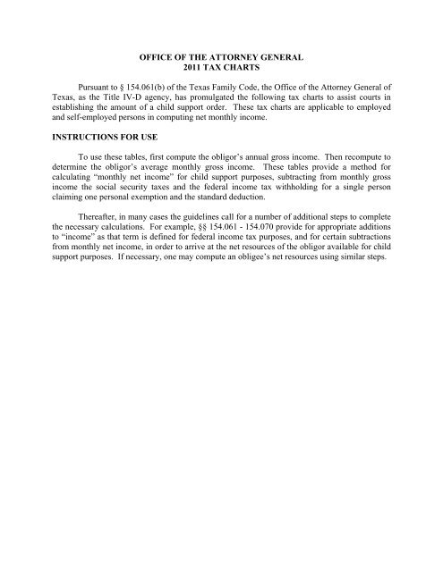 2011 CS Guidelines Tax Charts - Texas Attorney General