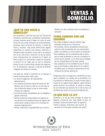 VENTAS A DOMICILIO - Texas Attorney General