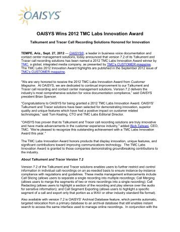 OAISYS Wins 2012 TMC Labs Innovation Award