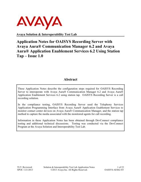 Application Notes for OAISYS Recording Server with Avaya Aura