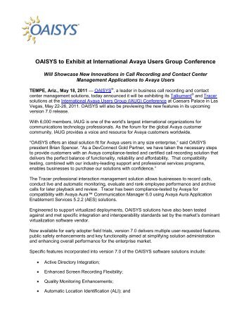 OAISYS to Exhibit at International Avaya Users Group Conference