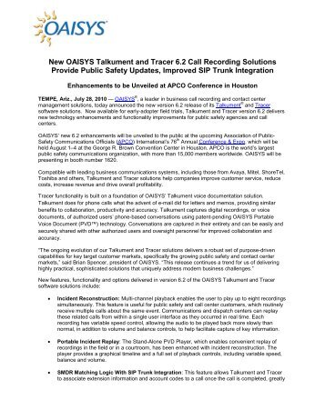 OAISYS Announces Early Adopter Release of Talkument and Tracer ...