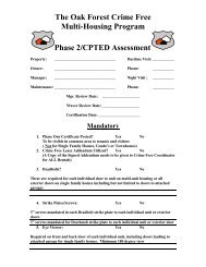 Phase 2/CPTED Assessment - City of Oak Forest