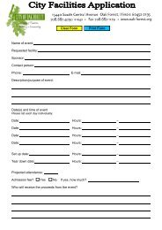 City of Oak Forest - City Facilities Application Fill-in