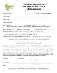 Oak Forest Community Center 15501 Kilpatrick ... - City of Oak Forest