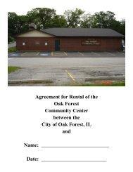Community Center Rental Agreement - City of Oak Forest