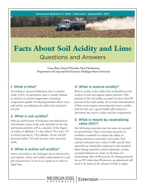 Facts About Soil Acidity And Lime