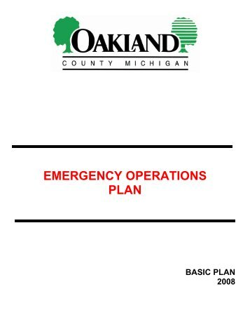 EMERGENCY OPERATIONS PLAN - Oakland County