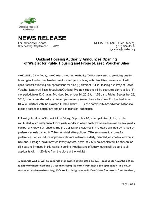 News Release Wait List Opening - Oakland Housing Authority