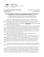 NEWS RELEASE/MEDIA ADVISORY - Oakland Housing Authority