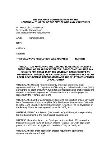 Resolution - Oakland Housing Authority