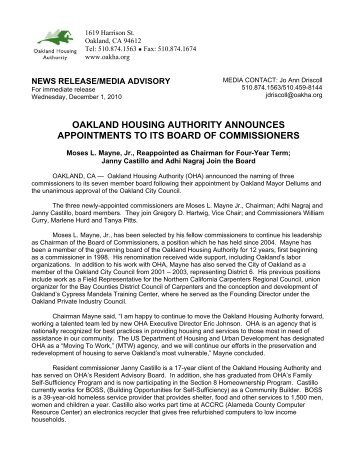 oakland housing authority announces appointments to its board of ...