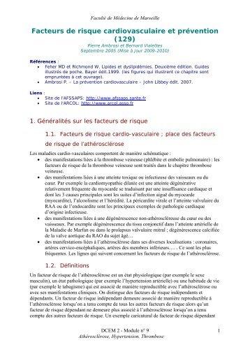 Facteurs de risque cardiovasculaire et prévention (129) - Serveur ...