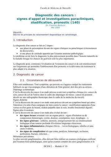 Diagnostic des cancers - Serveur pédagogique de la Faculté de ...