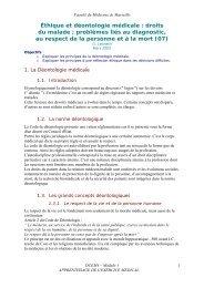 Éthique et déontologie médicale - Serveur pédagogique de la ...