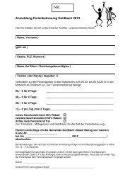 Anmeldung Ferienbetreuung Goldbach 2013