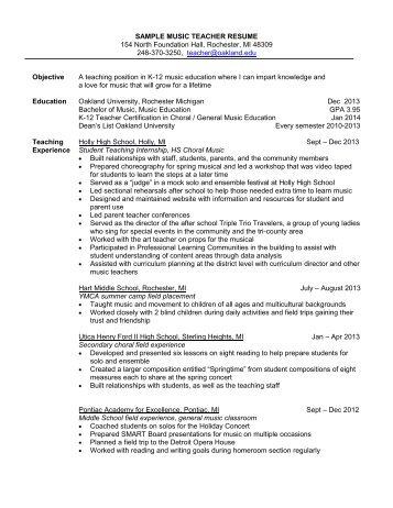 sample secondary teacher resumes Fieldstation
