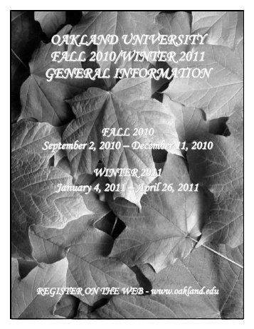 Fall 2010 General Information - Oakland University