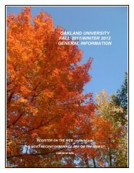 oakland university fall 2011/winter 2012 general information
