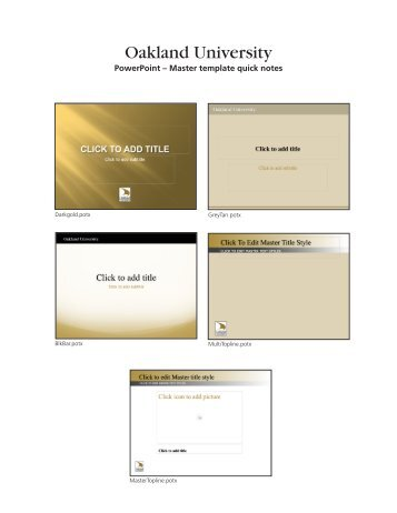 PowerPoint - Master Template Quick Note - Oakland University