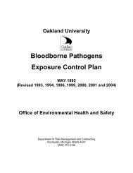 Bloodborne Pathogens Exposure Control Plan - Oakland University