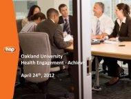 Oakland University Health Engagement - Achieve April 24th, 2012
