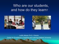 Who are our students, and how do they learn? - Oakland University