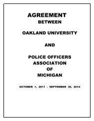 AGREEMENT - Oakland University