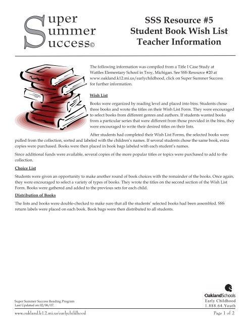 5 Student Book Wishlist Form - Oakland Schools