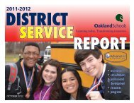 Oakland Schools District Service Report 2012