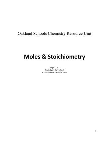 Worksheet on Moles and Stoichiometry