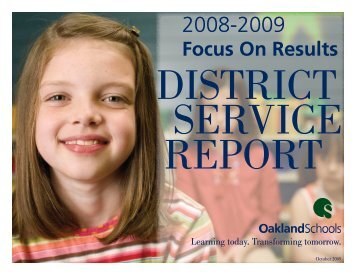 District Service Report - Oakland Schools