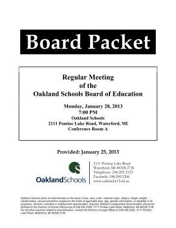 Regular Meeting of the - Oakland Schools