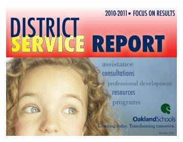 Oakland Schools District Service Report 2011