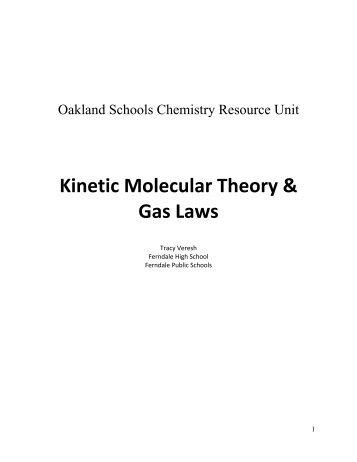 Kinetic Molecular Theory Gas Laws - Oakland Schools