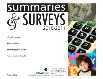 Summaries and Surveys 2011 - Oakland Schools