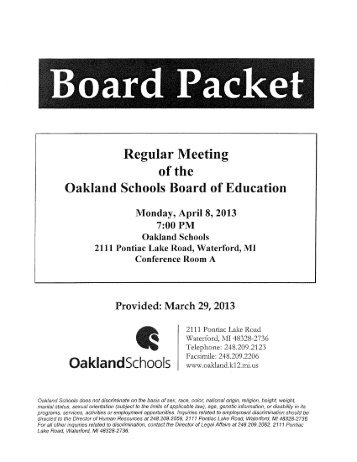 Special Education Fund Variance Analysis - Oakland Schools