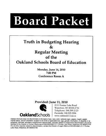 Expenditure Assumptions & Proposed Budgets - Oakland Schools