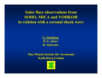 Solar flare observations from SOHO, MICA and YOHKOH in relation ...
