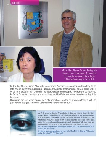 Milton Ruiz Alves e Suzana Matayoshi são os novos Professores ...