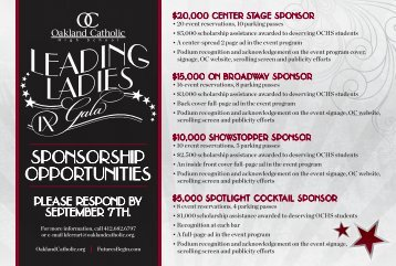 OC Leading Ladies Invitation Insert - Oakland Catholic High School