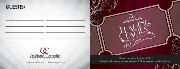 OC Leading Ladies RSVP Card - Oakland Catholic High School