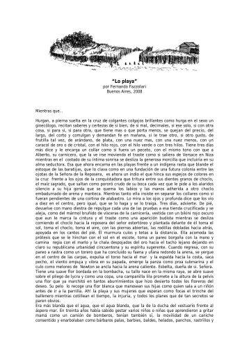 """""""LO PLAYA"""" . escrito para la exposición en la ... - Fernando Fazzolari"""