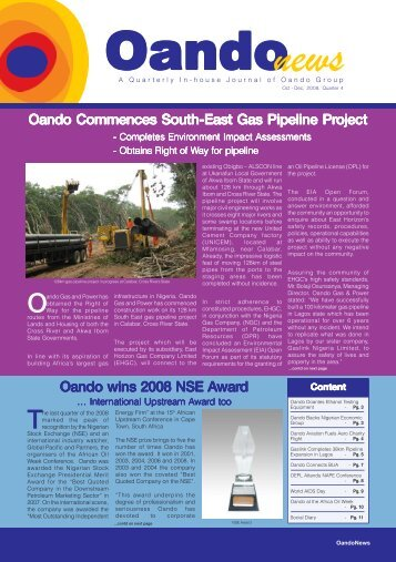 Oando Commences South-East Gas Pipeline Pr ... - Oando PLC