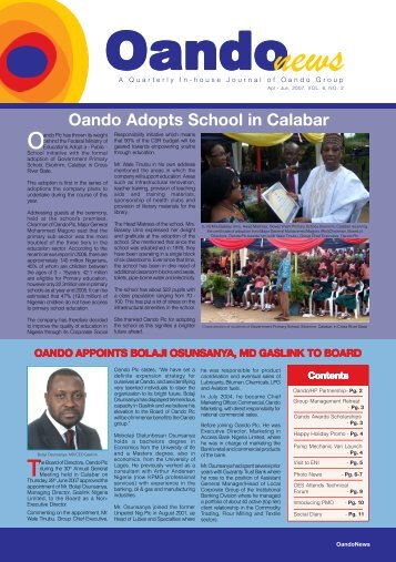 Oando Adopts School in Calabar - Oando PLC