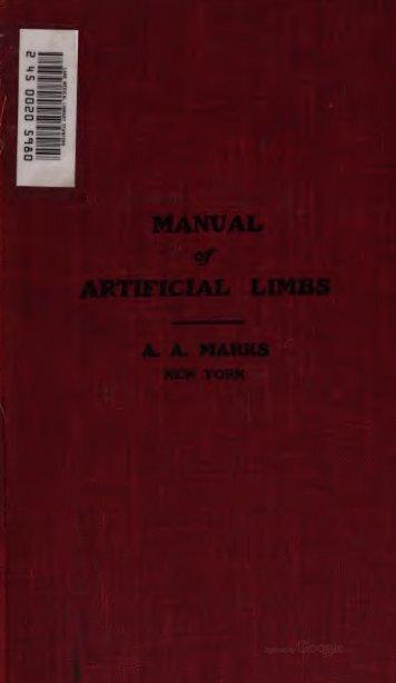 Manual of Artificial Limbs