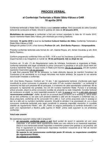 proces verbal - Ordinul Arhitectilor din Romania Filiala Sibiu - Valcea