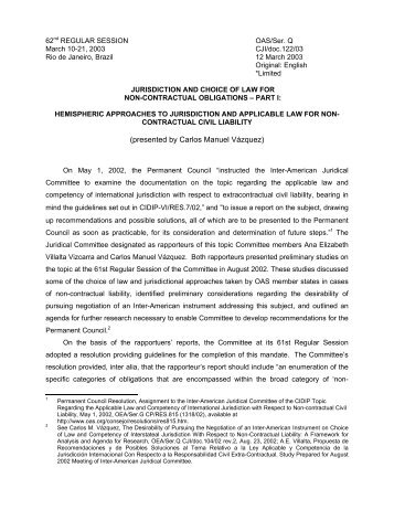 Jurisdiction and choice of law for non-contractual obligations ... - OAS