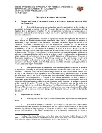 The right of access to information Special Rapporteurship for ... - OAS